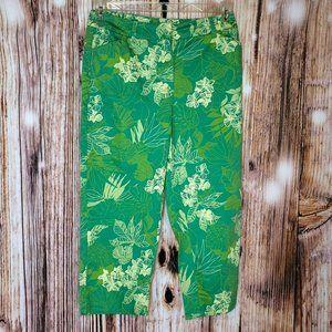 St. Johns Bay Stretch Floral Green Capri Pants 10